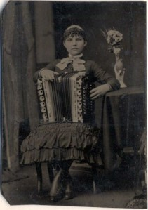 Young woman with her accordion c. 1870